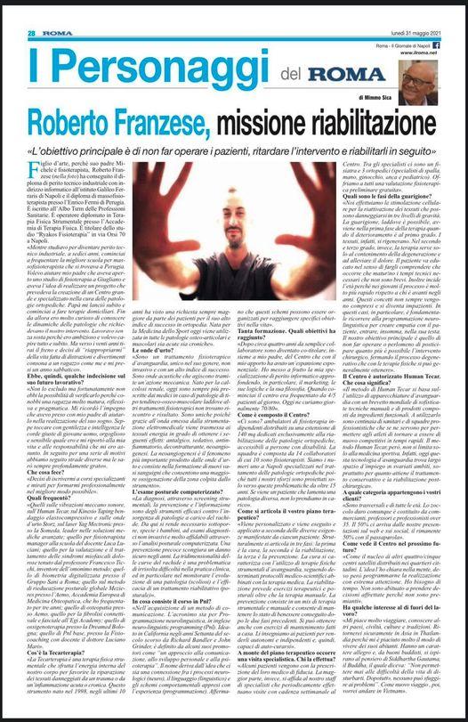 """Read more about the article Roberto Franzese: personaggio del Mese Giornale """"Roma"""""""